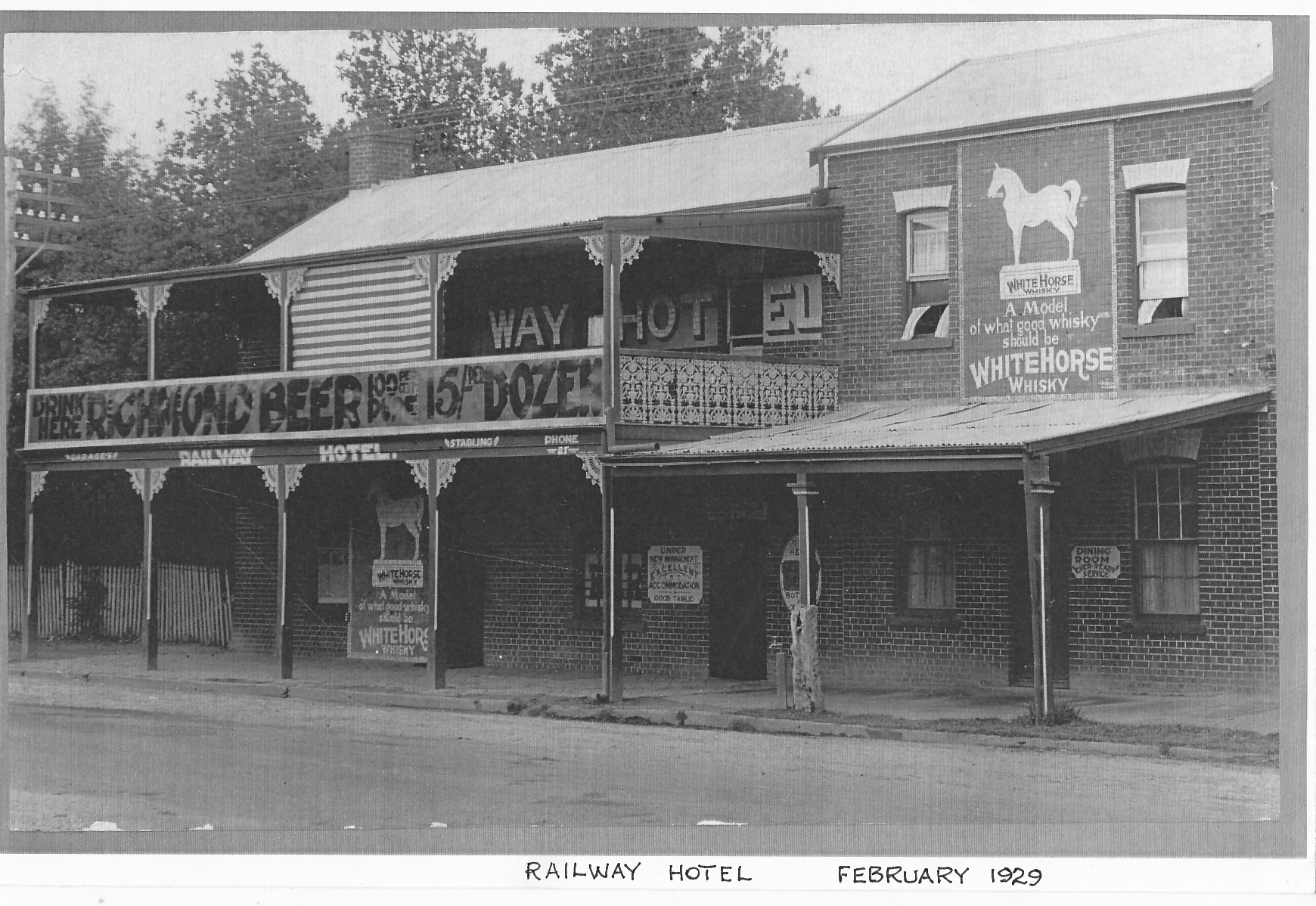 Railway Hotel 1929.  In 1869 James Bamrick built the Railway Hotel, in Sydney Street (now High Street).  The hotel most recently traded as O'Maille's.